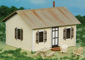 GCLaser Open Hearth Inn Rental Cabin 4-Pack w/4 Tables & 8 Chairs Laser-Cut Matboard Kit - Each Cabin- 2-7/8 x 2-5/8 x 1-7/8 7.3 x 6.7 x 4.
