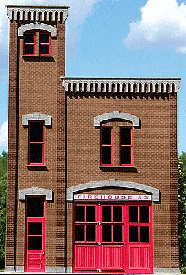 GC Laser Firehouse #3 Background Building Front Flat (Precolored Kit) -- O Scale Model Building -- #390241
