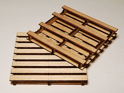 GCLaser Pallet Laser-Cut Wood Kit (4-Pack) G Scale Model Railroad Accessory #41101