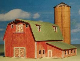 GCLaser Ellis Barn & Silo Kit (Laser-Cut Wood) Z Scale Model Railroad Building #5304