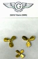 G-Factor Titanic Brass Propellers (3) Plastic Model Ship Parts 1/350 Scale #35016
