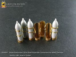Griffon-Model 1/35 SdKfz 138/1 Ausf H Grille Brass Preformed 15cm Shell Projectile Containers for DML