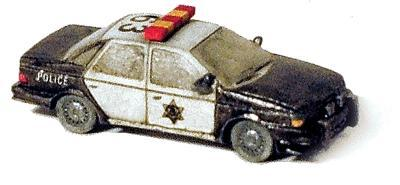 GHQ Police Highway Patrol Squad Car (Unpainted Metal Kit) N Scale Model Railroad Vehcile #51013
