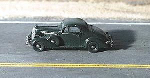 GHQ 1936 Buick Coupe (Unpainted Metal Kit) -- N Scale Model Railroad Vehicle -- #57003
