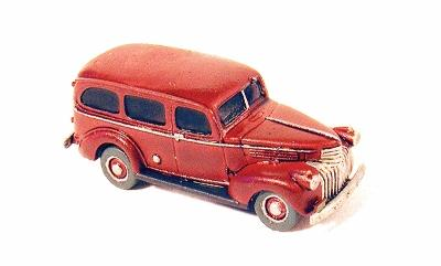 GHQ 1941 Chevrolet Suburban (Unpainted Metal Kit) N Scale Model Railroad Vehicle #57011