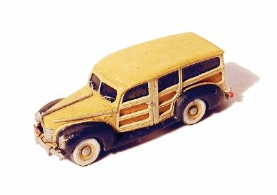 GHQ 1940 Ford Woody Station Wagon (Unpainted Metal Kit) -- N Scale Model Railroad Vehicle -- #57013