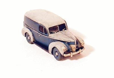 GHQ 1940 Ford Panel Truck (Unpainted Metal Kit) -- N Scale Model Railroad Vehicle -- #57014