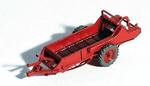 GHQ 1950s Red Manure Spreader (Unpainted Metal Kit) -- HO Scale Model Railroad Vehicle -- #60002