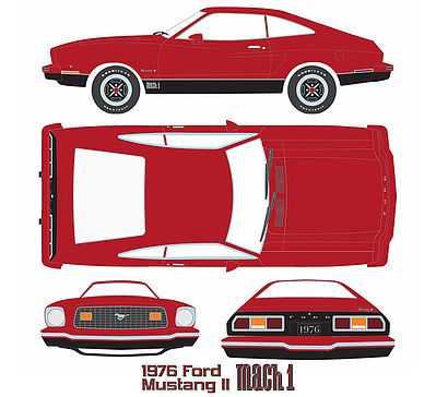 Green Light Collectibles 1976 Mustang II Mach 1 Red -- Diecast Model Car -- 1/18 Scale -- #12867