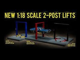 Green-Light Two-Post Lift Blue/Yellow Diecast Model Accessory 1/18 Scale #12915