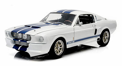 Green Light Collectibles 1967 Shelby GT-500 White/Blue -- Diecast Model Car -- 1/18 Scale -- #12929
