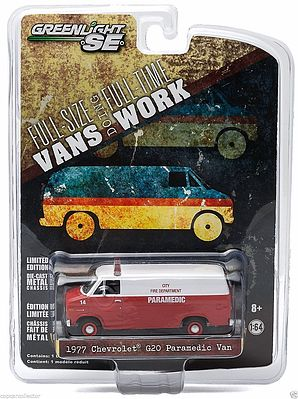 Green Light Collectibles 1977 Chevy G20 Van City Fire -- Diecast Model Truck -- 1/64 Scale -- #29781