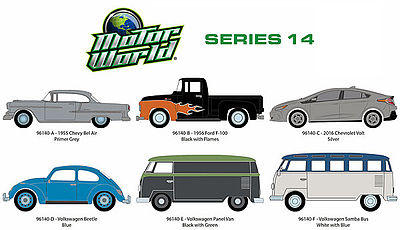 Green Light Collectibles Motor World Series 14 (6) -- Diecast Model Car Set -- 1/64 Scale -- #96140