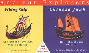 Glencoe 3-1/2'' Viking & 1-1/2'' Chinese Junk Ships Plastic Model Sailing Ship Kit 1/120 #03301