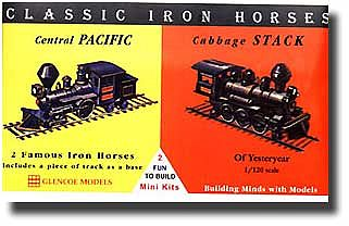 Glencoe Models Iron Horse Locos Central Pacific & Cabbage Stack -- Plastic Model Locomotive Kit -- 1/120 -- #03602