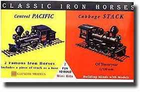 Glencoe Iron Horse Locos Central Pacific & Cabbage Stack Plastic Model Locomotive Kit 1/120 #03602