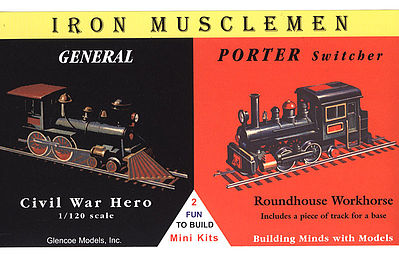 Glencoe Models General Civil War Hero & Porter Switcher Locos -- Plastic Model Locomotive Kit -- 1/120 -- #03603