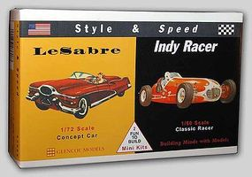 Glencoe LeSabre Concept and Kurtis Kraft Racer Plastic Model Car 1/72 & 1/60 Scale #03608