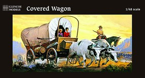 Glencoe 1/48 Western Covered Wagon w/2 Oxen, 1 Horse & 3 Figures