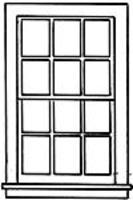 Grandt Window - 37 x 64 Double Hung, 12-Pane G Scale Model Railroad Building Accessory #3931