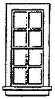 Grandt 8 Pane Double Hung Window (8) HO Scale Model Railroad Building Accessory #5029