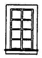 Grandt 8 Pane Double Hung Window (8) HO Scale Model Railroad Building Accessory #5030