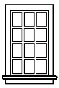 Grandt Line Products Inc 12 Pane Double Hung Window (8) -- HO Scale Model Railroad Building Accessory -- #5031