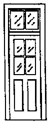 Grandt Line Products Inc Door 4 Pane Window w/Transom (4) -- HO Scale Model Railroad Building Accessory -- #5072
