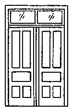 Grandt Line Products Inc Double Door with Transom (2) -- HO Scale Model Railroad Building Accessory -- #5073