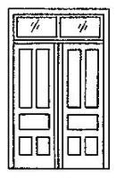 Grandt Double Door with Transom (2) HO Scale Model Railroad Building Accessory #5073