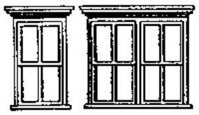 Grandt Victorian Windows 4 Single/2 Double (2 Sets) HO Scale Model Railroad Building Accessory #5116