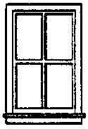 Grandt 4 Pane Double Hung Window (8) HO Scale Model Railroad Building Accessory #5117