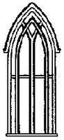 Grandt Gothic Church Window (4) HO Scale Model Railroad Building Accessory #5126