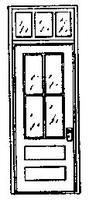 Grandt Factory Front Door w/Transom for Masonry Bldg HO Scale Model Railroad Building Accessory #5139