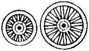 Grandt 36 & 48 Dia. Circus Wagon Wheels (2 Sets) HO Scale Model Railroad Building Accessory #5143