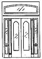 Grandt Double Door w/Sidelight & Transom HO Scale Model Railroad Building Accessory #5149