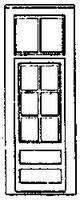 Grandt 33 Door w/6 Pane Window & Transom (3) HO Scale Model Railroad Building Accessory #5163