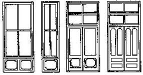 Grandt Commercial Storefront Window & Door Set (2) HO Scale Model Railroad Building Accessory #5165