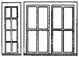Grandt Single & Double RGS Style Depot Window (2 Sets) HO Scale Model Railroad Building Supply #5196
