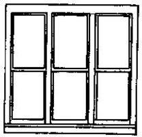 Grandt 6 Pane Double Hung Triple Window (3) HO Scale Model Railroad Building Accessory #5204