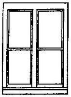 Grandt Double Hung Window (3) HO Scale Model Railroad Building Supply #5205