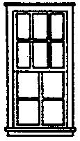 Grandt Line Products Inc 6/4 Pane Double Hung Window (8) -- HO Scale Model Railroad Building Accessory -- #5233