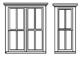 Grandt 4 Pane, Single 8 Pane, Double Window (2 Sets) HO Scale Model Railroad Building Accessory #5264