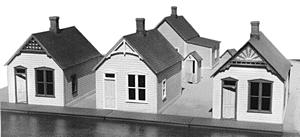Grandt Reese Street Row House Kit (3) HO Scale Model Railroad Building #5903
