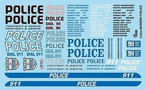 Gofer-Racing Police 911 Protect & Serve Plastic Model Vehicle Decal 1/25 Scale #11024