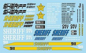 Gofer-Racing Sheriff Decals Plastic Model Vehicle Decal 1/25 Scale #11025