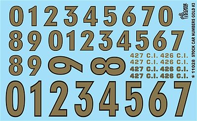 Gofer Racing Models Decals Gold Numbers -- Plastic Model Vehicle Decal -- #11028