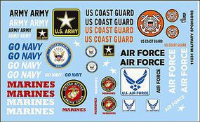 Gofer-Racing 1/24-1/25 Armed Services Logos Plastic Model Vehicle Decal #11031