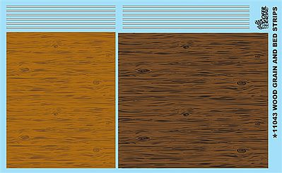 Gofer Racing Models Decals Woodgrain and Bed Stripes Decal Sheet -- Plastic Model Vehicle Decal -- #11043
