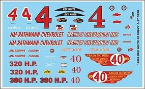 Gofer-Racing 1/24-1/25 1962 Chevy Rex White Graphics Plastic Model Vehicle Decal #12006